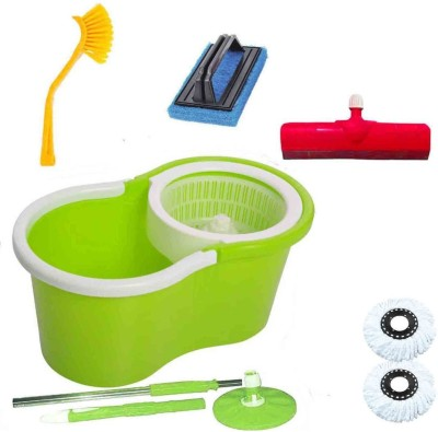CREZON Magic Spin Cleaner Mop with 2 refills with sink cleaner with tile cleaner with floor wiper ((RANDOM COLOR SEND GREEN, PINK, BLUE, RED)) Home Cleaning Set  available at flipkart for Rs.990