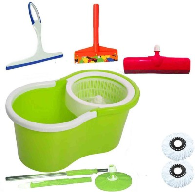 CREZON Magic Spin Cleaner Mop with 2 refills with kitchen wiper with sink wiper with floor wiper ((RANDOM COLOR SEND GREEN, PINK, BLUE, RED)) Home Cleaning Set  available at flipkart for Rs.990