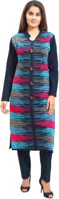 Style Diva Self Design Women Straight Kurta(Multicolor)