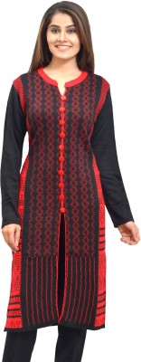 Style Diva Self Design Women Straight Kurta(Black, Red)
