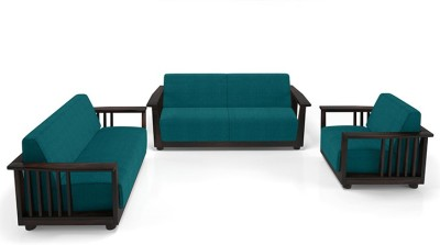 Urban Ladder Serra Wooden Fabric 3 + 2 + 1 Mahogany Sofa Set