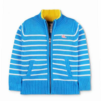 Cherry Crumble California Striped Crew Neck Casual Baby Boys & Baby Girls Blue Sweater