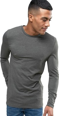 PAUSE Solid Men's Round Neck Grey T-Shirt