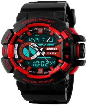 Awiser WR50 Dual Time Alarm Digital Analog Red Chronograph Watch  - For Men