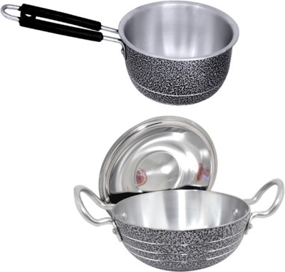 bartan hub Kadhai and saucepan set  kadhai 2500 ml , 1000 ml  Cookware Set