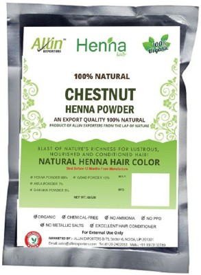 Allin Exporters Chestnut Henna Hair Color – 100% Organic and Chemical Free Henna for Hair Color Hair Care - ( 60 Gram = 1 Packet)(60 g)