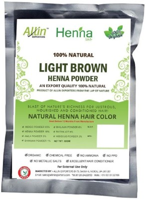 Allin Exporters Light Brown Henna Hair Color – 100% Organic and Chemical Free Henna for Hair Color Hair Care - ( 120 Gram = 2 Packet)(120 g)