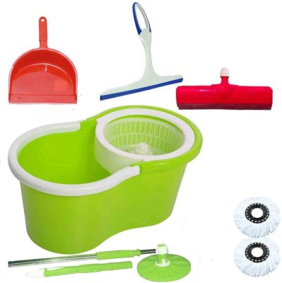 CREZON Magic Spin Cleaner Mop with 2 microfibers with dustpic with kitchen wiper with floor wiper ((RANDOM COLOR SEND GREEN, PINK, BLUE, RED)) Home Cleaning Set  available at flipkart for Rs.990