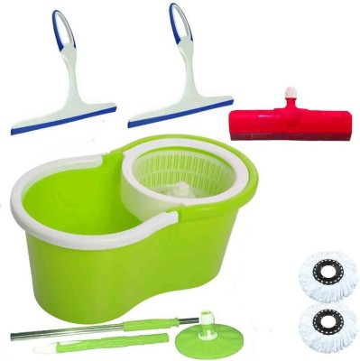 CREZON Magic Spin Cleaner Mop with 2 microfibers with kitchen wiper with kitchen wiper with floor wiper ((RANDOM COLOR SEND GREEN, PINK, BLUE, RED)) Home Cleaning Set  available at flipkart for Rs.990