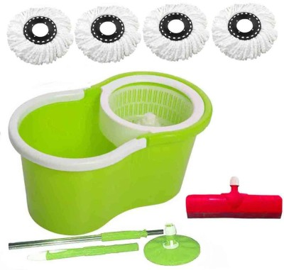 CREZON Magic Spin Cleaner Mop with 4 microfibers with with Floor Wiper ((RANDOM COLOR SEND GREEN, PINK, BLUE, RED)) Home Cleaning Set  available at flipkart for Rs.990