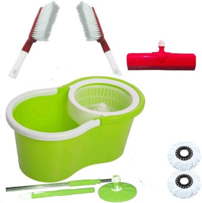 CREZON Magic Spin Cleaner Mop with 2 microfibers with carpet cleaner with carpet cleaner with floor wiper ((RANDOM COLOR SEND GREEN, PINK, BLUE, RED)) Home Cleaning Set  available at flipkart for Rs.990