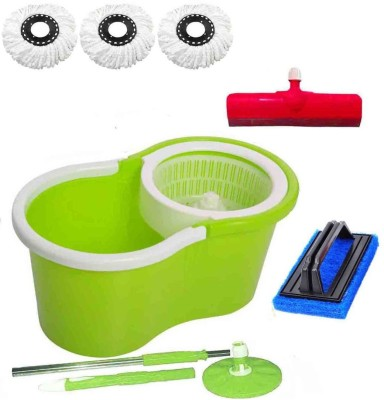 CREZON Magic Spin Cleaner Mop with 3 microfibers with Tile scrub with Floor Wiper ((RANDOM COLOR SEND GREEN, PINK, BLUE, RED)) Home Cleaning Set  available at flipkart for Rs.990