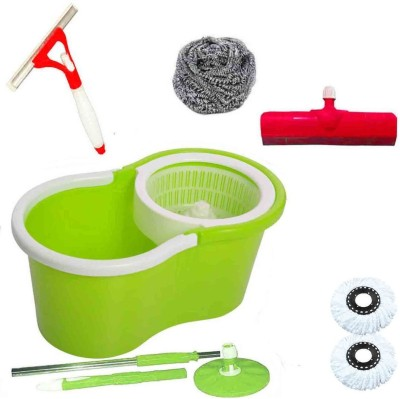 CREZON Magic Spin Cleaner Mop with 2 microfibers with spray wiper with steel scrub with floor wiper ((RANDOM COLOR SEND GREEN, PINK, BLUE, RED)) Home Cleaning Set  available at flipkart for Rs.990