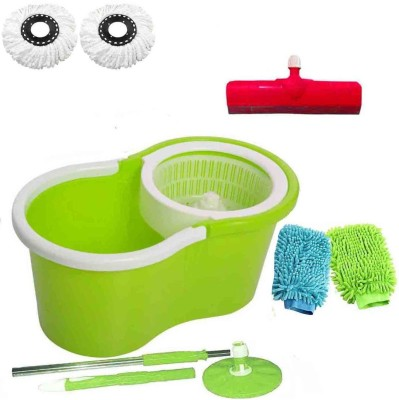 CREZON Magic Spin Cleaner Mop with 2 microfibers with 2 gloves with Floor Wiper ((RANDOM COLOR SEND GREEN, PINK, BLUE, RED)) Home Cleaning Set  available at flipkart for Rs.990