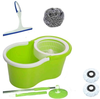 CREZON Magic Spin Cleaner Mop with 2 microfibers with kitchen wiper with steel scrub with floor wiper ((RANDOM COLOR SEND GREEN, PINK, BLUE, RED)) Home Cleaning Set  available at flipkart for Rs.990