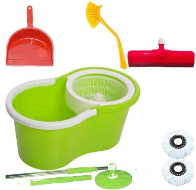 CREZON Magic Spin Cleaner Mop with 2 microfibers with dustpic with sink cleaner with floor wiper ((RANDOM COLOR SEND GREEN, PINK, BLUE, RED)) Home Cleaning Set  available at flipkart for Rs.990
