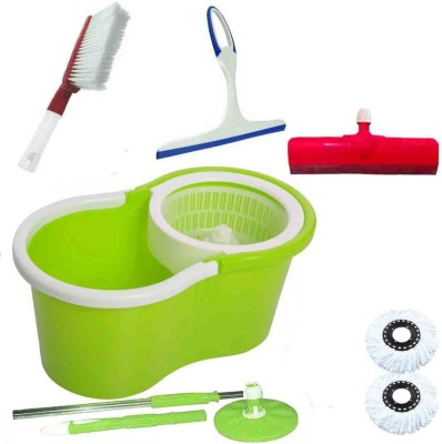 CREZON Magic Spin Cleaner Mop with 2 microfibers with carpet cleaner with kitchen wiper with floor wiper ((RANDOM COLOR SEND GREEN, PINK, BLUE, RED)) Home Cleaning Set  available at flipkart for Rs.990