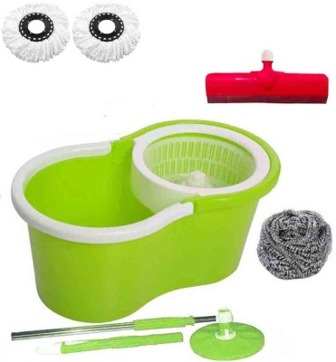 CREZON Magic Spin Cleaner Mop with 2 microfibers with steel scrub with Floor Wiper ((RANDOM COLOR SEND GREEN, PINK, BLUE, RED)) Home Cleaning Set  available at flipkart for Rs.931