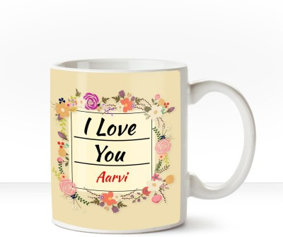 Huppme Happy Birthday Aarvi Inner Black coffee name mug Ceramic Mug(350 ml)