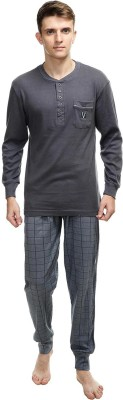 Kotty Men Checkered Grey Top & Pyjama Set at flipkart