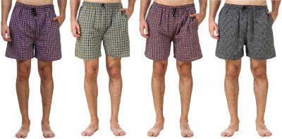 Xcrox Checkered Men Boxer(Pack of 4)