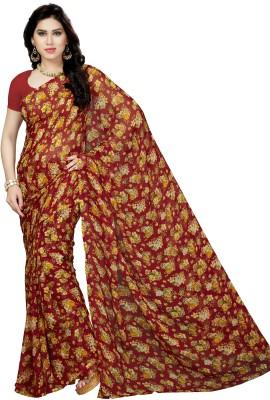 Rani Saahiba Floral Print Fashion Chiffon Saree(Maroon) Flipkart