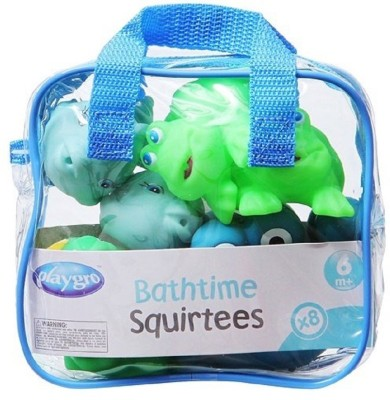 Playgro Bath Time Squirtees Pack Of 8 Blue & Green Bath Toy(Multicolor)
