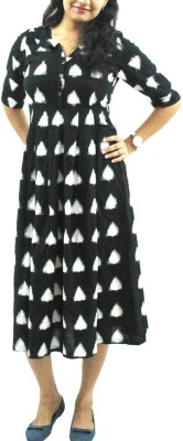 Nthroot Women A-line Black, White Dress