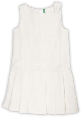 United Colors of Benetton Girls Midi/Knee Length Casual Dress(White, Sleeveless) at flipkart