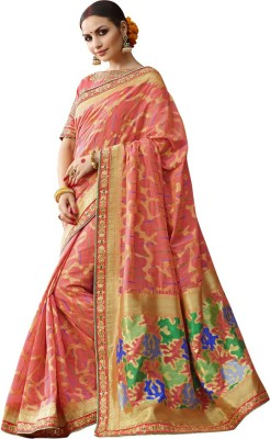 Saara Self Design Fashion Cotton Blend, Poly Silk, Cotton Blend Saree(Pink, Gold) at flipkart