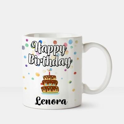 Huppme Happy Birthday Lenora Printed Coffee White Ceramic Mug(350 ml), Multicolor