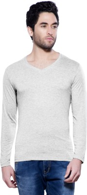 Maniac Solid Men Round Neck Grey T Shirt