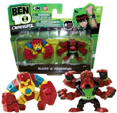Ben 10 Bandai Year 2013 Omniverse Series 2 Pack 2 Inch Tall Mini Action Figure Set Bloxx And Fourarms(Multicolor)