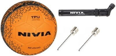 Nivia Combo of Three, One Revolvo Football, One Double Action Pump and 2 Needle (Color On Availability)- Football - Size: 5(Pack of 1, Multicolor)  available at flipkart for Rs.945