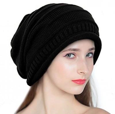 BEZAL Black Slouchy woolen Long Beanie Cap for Winter skull head Unisex Cap