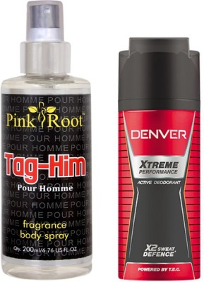 Denver Xtreme Performance Deodorant 150ml, Pink Root Tag-Him Pour Homme Fragrance body Spray 200ml(Set of 2)  available at flipkart for Rs.490
