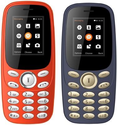 I Kall K130 Combo of Two Mobile(Red & Dark Blue)