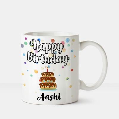 Huppme Happy Birthday Aashi Printed Coffee White Ceramic Mug(350 ml)