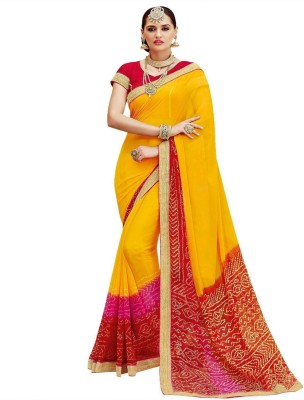 Bombey Velvat Fab Printed Daily Wear Faux Georgette Saree(Yellow, Red) Flipkart
