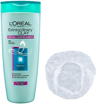 L'Oreal Extraordinary Clay Purifying & Hydrating shampoo with Shower Cap(175 ml)
