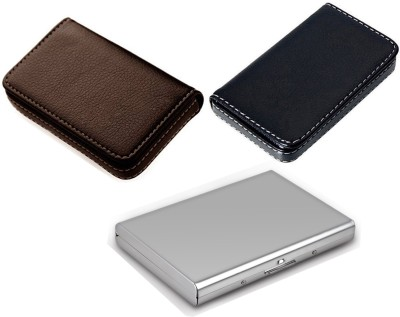 AmtiQ High Quality Combo of Soft Black Visiting and Soft Brown Visiting with Stainless Steel Plain ATM 6 Card Holder(Set of 3, Multicolor)
