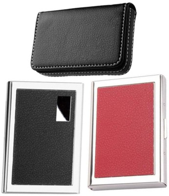 AmtiQ High Quality Combo of Stainless Steel Black and Red Leather ATM with Soft Black Visiting 6 Card Holder(Set of 3, Multicolor)