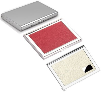 AmtiQ High Quality Combo of Stainless Steel Plain, Red and White Leather ATM/Visiting 6 Card Holder(Set of 3, Multicolor)