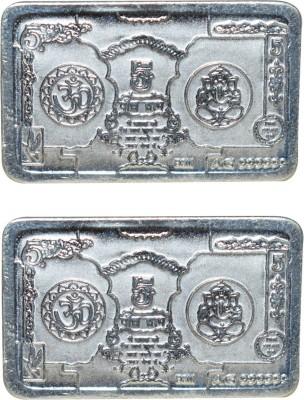Kataria Jewellers Om   Ganesha S 999 5 g Silver Bar Pack of 2 Kataria Jewellers Coins   Bars