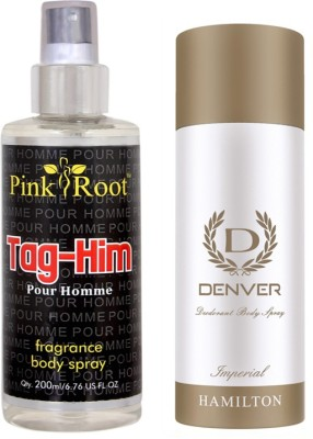 Denver Imperial Deodorant 165ml, Pink Root Tag-Him Pour Homme Fragrance body Spray 200ml(Set of 2)  available at flipkart for Rs.490