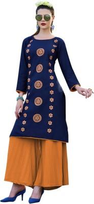 Saara Women Solid, Embroidered Straight Kurta(Dark Blue)