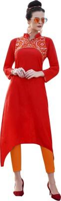 Saara Women Solid, Embroidered Straight Kurta(White)