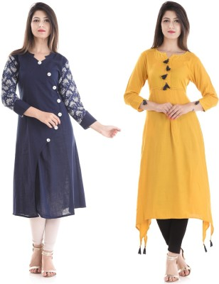 Stylum Casual Printed Women Kurti(Pack of 2, Yellow, Dark Blue)