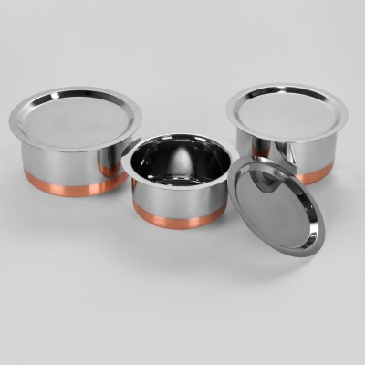Sumeet 3 Pcs Stainless Steel Copper Bottom Cookware/ Container / TopeSet With Lids Size 10 To 12 Pot 1 L(Stainless Steel)