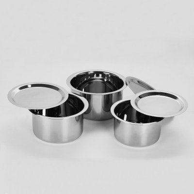 Sumeet 3 Pcs Stainless Steel Induction & Gas Stove Friendly, Heavy 18 Gauge, Flat Bottom Container Set/Tope Set With Lids Size 10 To 12 Pot 1 L(Stainless Steel, Induction Bottom)